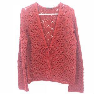 The Limited   Open Knit Waist Tie Cardigan SZ XL